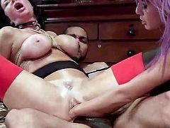 Veronica has her ass filled with thick, black cock. Janice believes her pussy needs filling, so she gives her a hand, literally. She fistfucks the busty milf's pussy, then sucks Mickey's rod, before Janice gets back to pumping Veronica's cunt with her arm.
