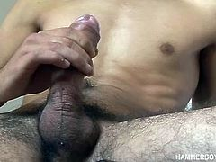 Istvan Tono is a slim young man, with just enough hair on his stomach to give him a very masculine look. Naked and showing off that sexy body of his, Istvan works up a boner and starts stroking his cock. After edging himself a few times, the young man cant hold it back any longer and the cum starts to gush.