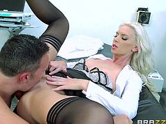 This hot doctor has prescribed a treatment based on sex. The horny patient is eager to follow the busty blonde's advice. Click to watch slutty Brooke, sucking dick passionately. Her sexy doctor's uniform and kinky stockings are a huge turn on.