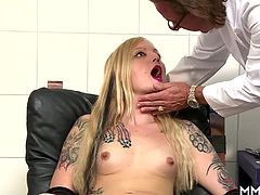 Stunning German blonde milf is feeling under the weather and needs a doctor, or two. Lucky for her that she has two doctor´s and a pair of fat hard cocks that stuff her ass real good.