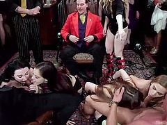 This is a birthday party of this guy in silk red gown in the middle. And all those sluts he received as a present for himself. Seems, it's gonna be a hot orgy. Let's start this crazy party!