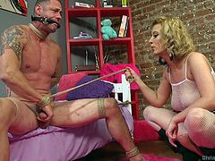 Cherry is well known dominating bitch. Her sex slaves are usually cry from pain and sometimes, moan from pleasure, but they all come here on their own will. Today, she tied D. Arclyte on his cock and whipped his naked body. Sharp feelings are guaranteed! Have fun!