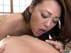 You will be stunned to see this horny Japanese housewife, engaged in intercourse with her husband. She removes her clothes like a professional stripteaser, plays with her lady parts and sucks his erected dick. She likes when her breasts are squeezed and kissed. She takes cock deep inside her holes.