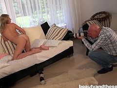 Old photographer got the chance to take nude photos of new pornstar Sabrina. After giving some nice ass poses, she was in mood for some real action. She removed her panties and made his dick erected with handjob. She was on knees for cock sucking and he was busy pinching her nipples. He banged her from behind.