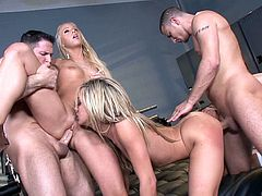 Three flamboyant ladies going crazy over the dicks of their partners