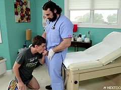 Jaxton Wheeler was busy in the hospital, but after seeing the patient Johnny Torque, he somehow wanted to fuck that twink. While examining him, Jaxton Wheeler fingered his patient's asshole and ordered him to suck his cock. Hot gay encounter in the hospital!!!