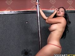 Ms. Bangkok shakes those awesome tits and her succulent ass right before a couple of anonymous black cocks make their appearance. Jessica gets on her knees and sucks down those big black cocks...