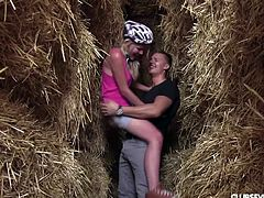 This is really romantic story with naive blonde girl, beautiful nature and unforgettable first sex. Watch Claudia, sucking her boyfriend's long dick on knees, in a haystack, with great passion and excitement. Have fun and enjoy sex action at outdoors!
