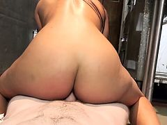 Big tittied brunette Priya Price gives her head and gets fucked in the dirty kitchen