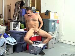 When a jerk off sex toy falls out of a box Victor decides to try it on his big dick. He quickly gets naked, slides his cock in deep and thrusts it up and down on his hard cock. It feels so good hes soon fucking it with intensity, until he cant hold back and pumps out his warm cum load. Then he licks his new found sex toy clean.
