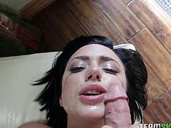 The way sexy Stevie make use of her tongue drives men wild. She licks her man's shaft and sucks on his swollen balls. He is going to shoot sticky jizz all over this dark haired slut's face. The dirty babe needs that warm cumload on her fuckable face.