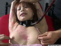 Asian slut has a sex toy stuck in her wet vagina and she adores what the dudes are doing to her. She has a drill down she's enjoying thoroughly. It is so raw.