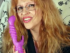 This red-haired witch, Deisy, will shake your imagination. You can't even suppose, what wonders she is going to show you with her lilac sex toy. Would you like to see her mature pussy? Then join!