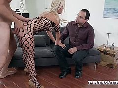 Welcome Private's new Milf Nikyta in the swinging special, Share My Wife. This busty blonde has a great ass and a taste for young man meat! Her husband likes to share her, shoving her mouth around a young stud as he watches her suck a hard cock.