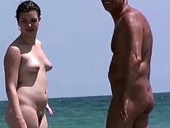Teen Girl with old man on Nude beach
