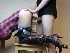 Cute girl in boots and jeans sucking and fucking