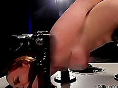 Marie McCray in device bondage pussy fucked femdom
