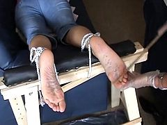 Extreme foot fetish and feet needle bdsm of mature amateur slave girl in harsh masochist toe torture and hot wax pain