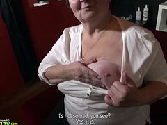Hana is an old lady but therefore, she knows alot about seduction. Her experienced mouth has sucked a lot of hard dicks and now, it's time to show all her skills. Watch this fat granny with huge saggy tits, sucking dick, with great passion. Have fun and enjoy the details!