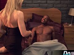 Horny wife Amanda bangs a black stud as her lame-ass husband tries not to watch