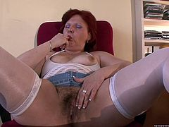 Kati was masturbating on the workplace, when her boss caught her. But he was not angry about her behaviour, he became horny and wanted to continue, but with his help... Watch this redhead chubby mature, sucking dick and balls, on knees, with great passion. Relax and enjoy impetuous sex action!