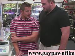 Straight dude in office for gay sex for cash in pawn shop threesome