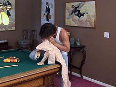 Redhead teen banged on the pool table