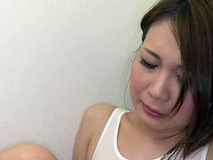 Perverted Asian dude fucks sweet Japanese gal wearing wet t-shirt and panties