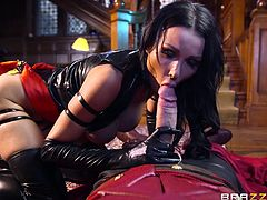Naughty Patty is wearing a kinky outfit and high heels. The hot brunette tries to impress a hero masked in red costume, with her fabulous big tits. One of her skills is sucking cock and the guy is about to experience an unforgettable blowjob! See this bitch fucked hard, from behind.