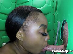 Porta Gloryhole Ebony loves cum protein from multiple men in public gloryhole