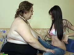 Othilia is really lucky today. She found herself this fresh chick, willing to experience some lesbian pleasures. Fat mature lady just flashed her big saggy titties and it was enough to catch this horny babe in her lesbian net. Have fun and relax!