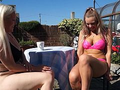 This babe in pink bikini was sitting outside with her busty aunt. Both ladies were looking smoking hot and were staring at each other's boobs. Rachel touched her guest's big tits and slipped her bra down. She grabbed her ass and fingered her holes. After that, girl undressed the mature and...