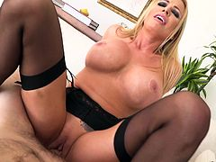 It was birthday of Manuel and his lover Briana, decided to fuck him in a special way. She was in sexy black lingerie and playing with her assets. She massaged his big dick, sucked it and rubbed his balls on her pussy. She formed cowgirl position, then took his cock in her ass hole...
