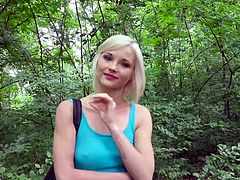 It was not an easy prey... Blonde young Zazie, is the woodcutter's daughter and it was hard to deal with her. But she was so fresh and tempting, that I wanted to get her, no matter what. This hard nut could not stand my onslaught and surrendered, as soon as I offered a lot of money. Watch her sucking my cock in the wood