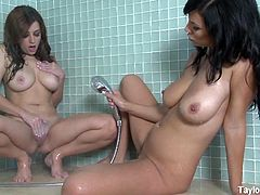 Busty babes Taylor and Jelena take a shower