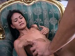 Asian chick blows hard