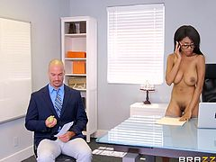 The atmosphere in the office, quickly gets really hot, as slutty Brittney walks completely nude and shamelessly, on her nine inch heels, in front of a coworker. Click to see this busty brunette giving head!