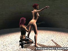 Gorgeous 3D cartoon redhead lesbian babe gets her tight and wet pussy licked, fingered, and toyed