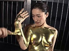 Golden Japanese chick rides the dick like a true sex goddess