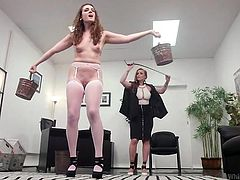 Endza Adair needs to get some slaps, to become really horny and her loving girlfriend Bella Rossi, will eagerly provide her with those stimulating whips. Readhead slender babe will be deeply figered by busty dominatrix and her pink pussy will be stretched wide. Enjoy hot lesbian domination!