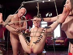 A long line of clothespins on the inside side of her thighs, only adds some thrill. Coarse fiber rope rubs the skin. This is her first day on The Upper Floor and everything happens exactly, as she thought it would be. Hard dick stretches her pussy and... Watch breathtaking BDSM action! Have fun!