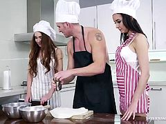 "Double deserts for Private's hung cheff in all new ""Hot Cooking"". Teen trainee cooks Stacy Snake & Francys Belle get real dirty! These lesbians eat each other's ass and pussy before dropping to the floor to share his huge cock with some deep throat action."
