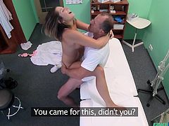 This curvy milf had no money to pay for the medical check, so her resourceful doctor gives her some hints. He pulls his penis out of his pants and... Vanessa immediately puts it in her mouth. They both get what they need, for free. Watch them fucking right in the procedural. Have fun!