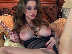 Voluptuous porn actress Emily Addison is fucking herself with dildo