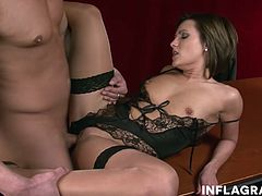 Jana Bach is one hot horny. She teases the boss into banging her tight shaved milf pussy so she can cum hard on her working desk. Overtime pays off.