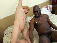 Blonde hottie banged by black cock