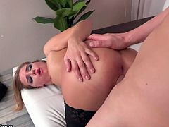 Horny dude with big dick stretches anus of Russian chick Sofi Goldfinger