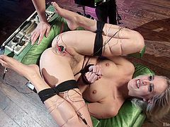 Watch how skillfully this busty milf dominates her blonde, slender opponent. Cadence is tied in ropes, with one leg higher, with an electric vibrator attached to her clit. Chanel tries to break her will, slashing sex slave with the whip. Later, Cadence will be placed in a special device, like mousetrap...