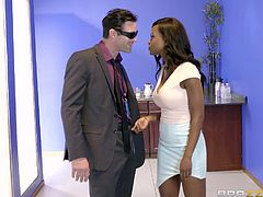 It's really hard to work from morning till night, without having a good rest. Jezabel Vessir, busty ebony babe knows this simple rule and, as a good boss, she gives her co-workers some bonuses. Watch her stroking Charles's dick, then sucking it on knees with care. Relax and enjoy impetuous sex action right in the office!