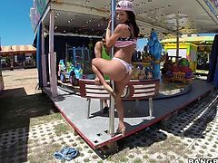 Adults like to go to amusement parks, too. They like to have fun and play games. Today, Franceska is looking for a different kind of fun, like getting fucked on the carousel. She drops those panties and takes that dick like, she really wants it.